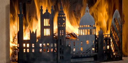 Burning City Fireplace Screens