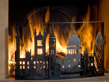 Burning City Firescreen