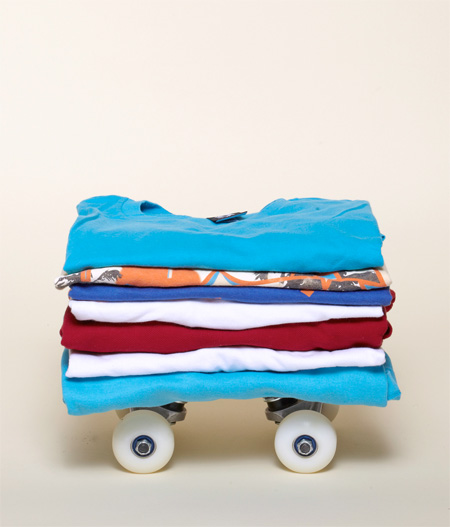 Stack of T Shirts Skateboard