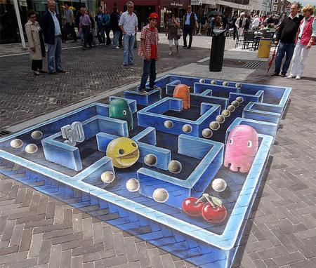 Pac-Man Street Painting