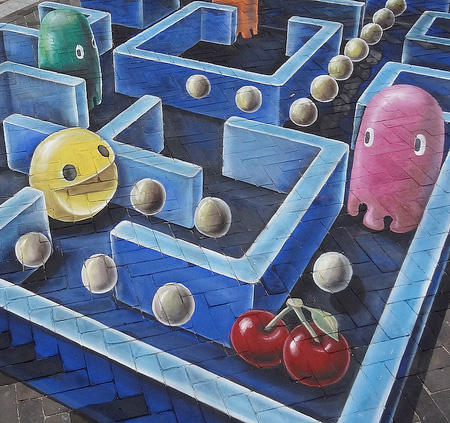 Pac-Man Street Art by Leon Keer