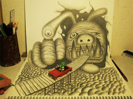 3D Pencil Drawing by Nagai Hideyuki