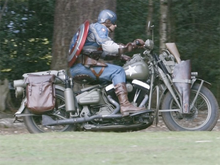Captain America on a Motorcycle
