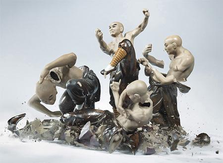 Shattering Porcelain Figurine