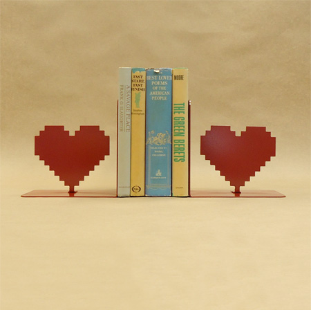 8 Bit Heart Bookends