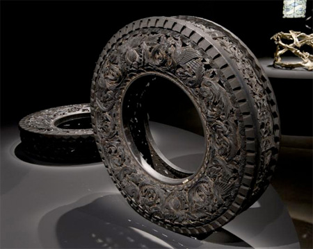 Art Carved into Tires by Wim Delvoye