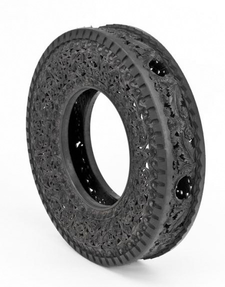Carved Tire by Wim Delvoye