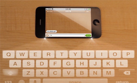 iPhone with Laser Projection Keyboard