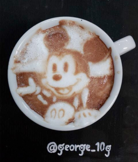 Mickey Mouse Coffee Art