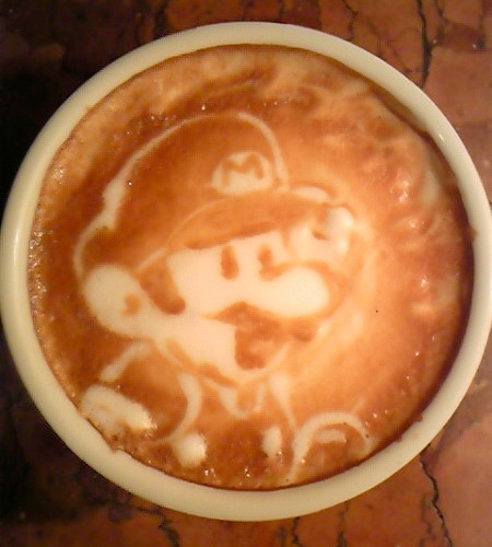 Super Mario Coffee Art