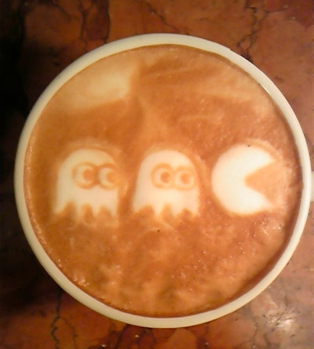 Pac-Man Coffee Art