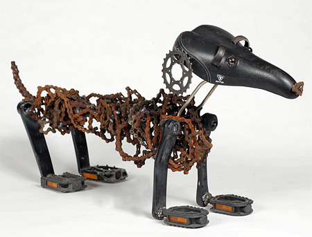 Recycled Bicycle Chain Dogs