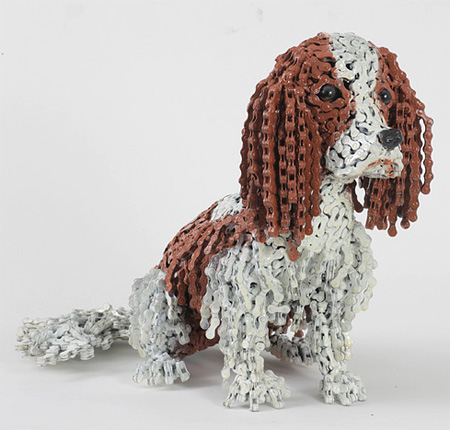 Dog Sculptures Made of Bicycle Chains