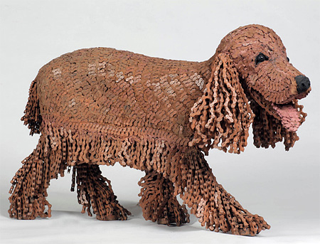 Dog Sculpture Made of Bicycle Parts