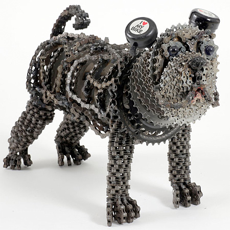 Bicycle Chain Dog Sculpture