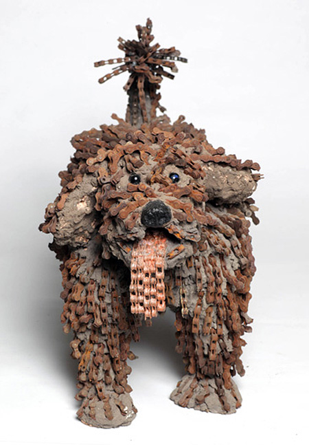 Bicycle Chain Dog Sculptures