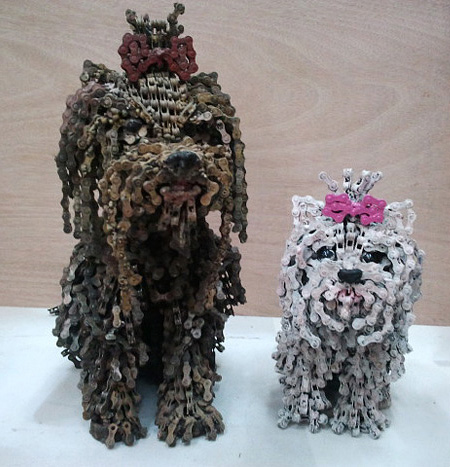 Bicycle Chain Dog Sculptures by Nirit Levav
