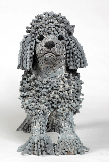 Dog Sculpture Made of Bicycle Chains