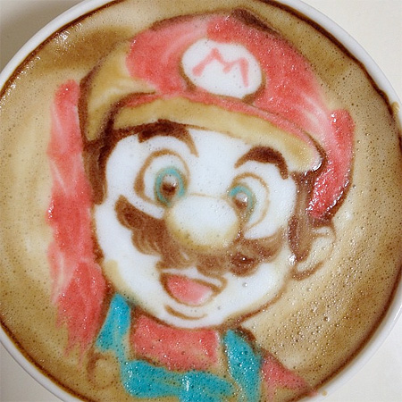 Super Mario Latte Art