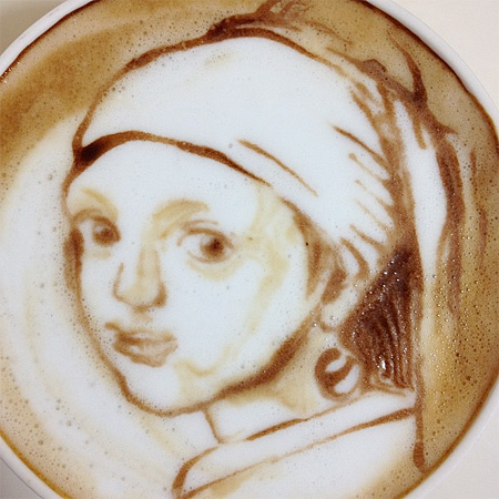 Girl with a Pearl Earring Latte Art