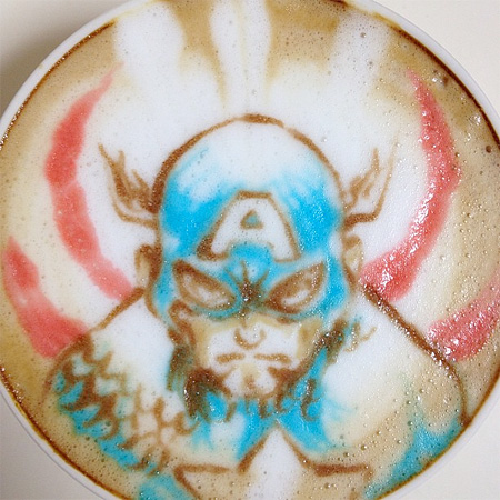 Captain America Latte Art