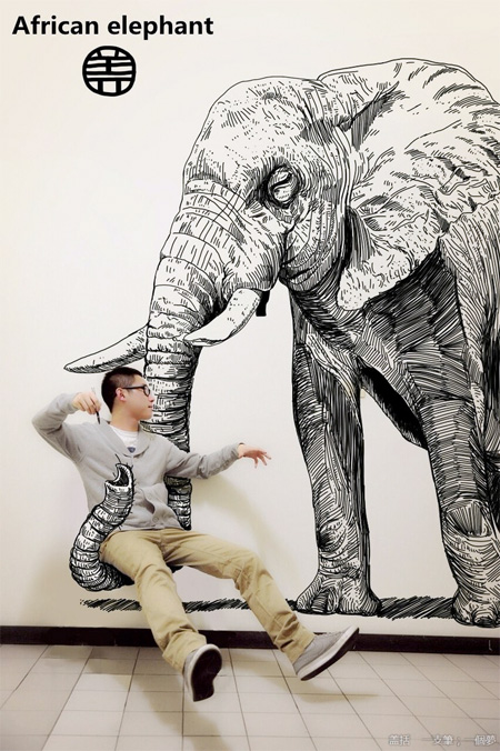 Artist Inserts Himself into Drawings