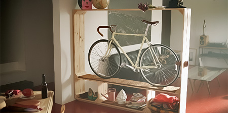 Books Shoes and Bicycle Shelf