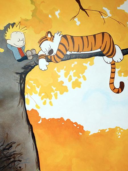 Calvin and Hobbes Wall Painting