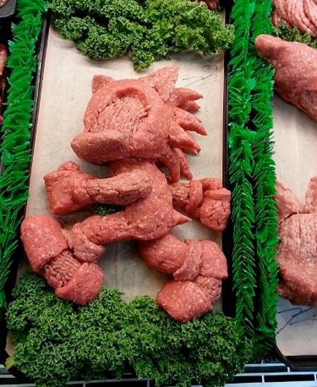 Ground Pork Sculptures