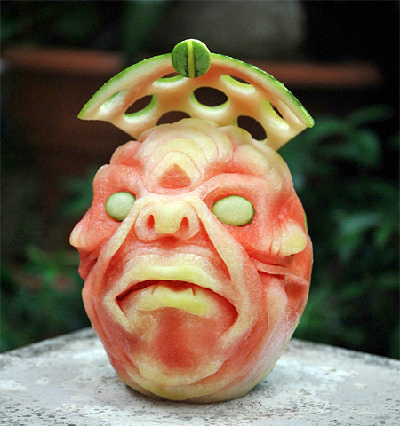 Art Carved into Watermelon
