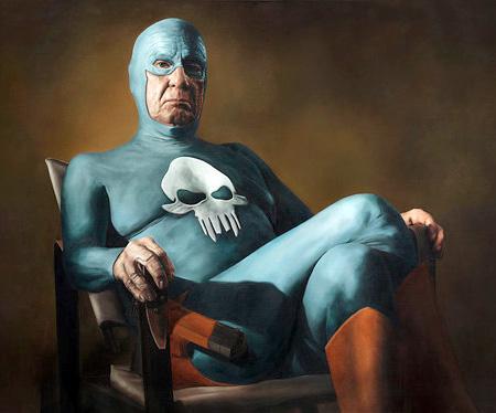 Old Superhero Painting