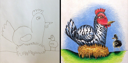 Dad Colors His Kids Drawings