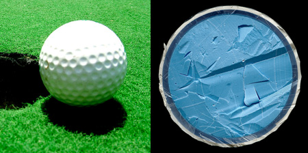 Golf Balls Cut in Half
