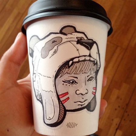 Coffee Cups Used as Canvas