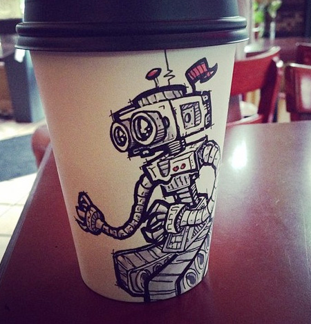 Artist Draws on Coffee Cups
