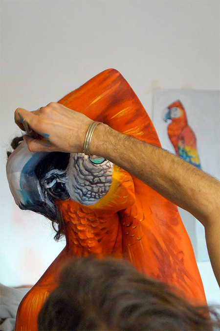Parrot Body Painting