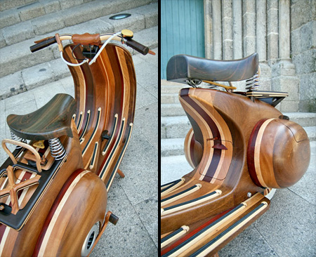 Vespa Scooter Made of Wood
