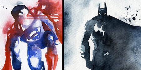 Watercolor Paintings of Superheroes