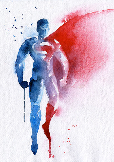Superman Watercolor Painting