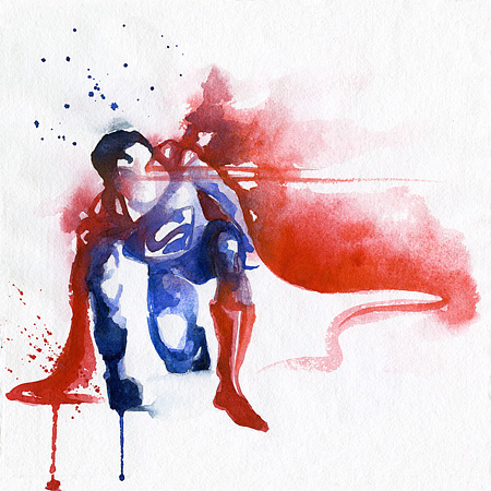 Blule Superhero Watercolor Paintings
