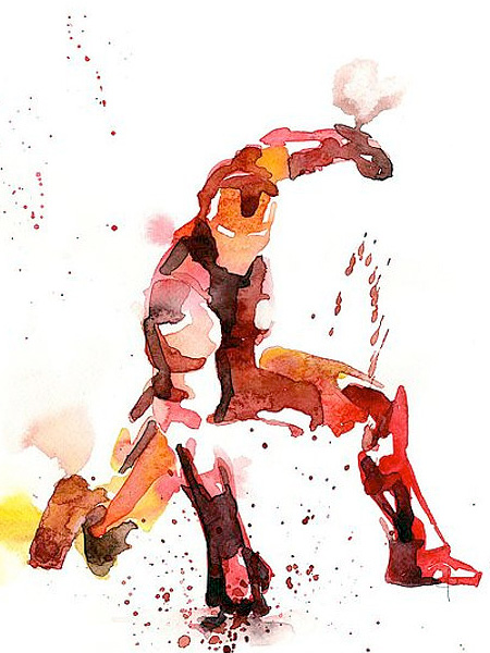 Iron Man Watercolor Painting