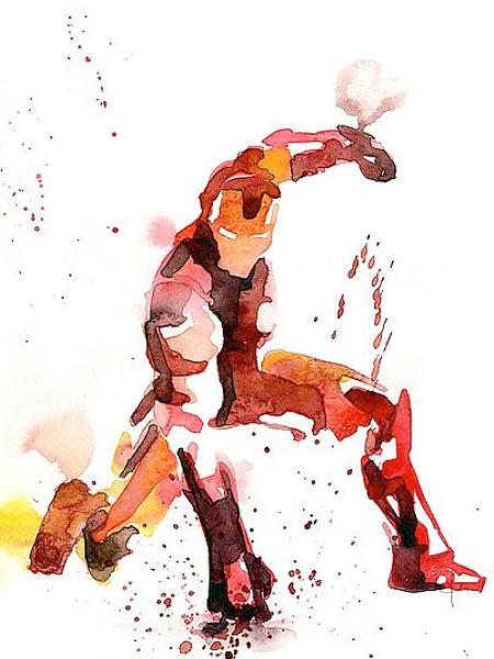 Iron Man Watercolor Painting