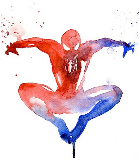 Spider-Man Watercolor Painting