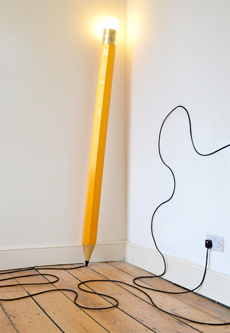 giant pencil lamp. Black Bedroom Furniture Sets. Home Design Ideas