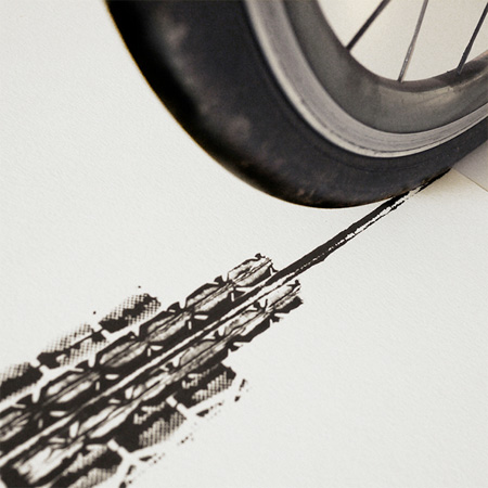 Bicycle Tyre Art by Thomas Yang