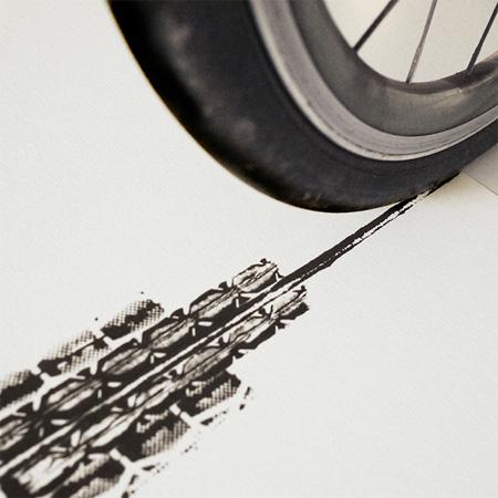 Bicycle Tyre Art by Thomas Yang