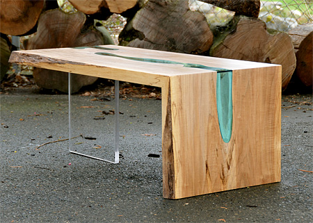 Wooden Tables with Glass Rivers