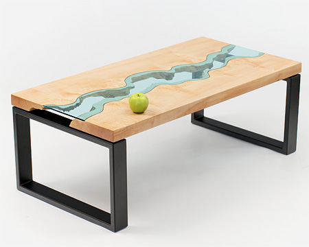 Wooden Table with Glass River
