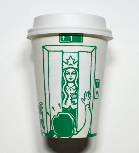 Soo Min Kim Starbucks Coffee Cup Art