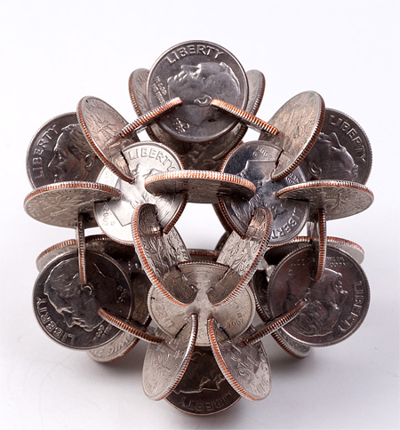 Interlocked Coin Sculptures
